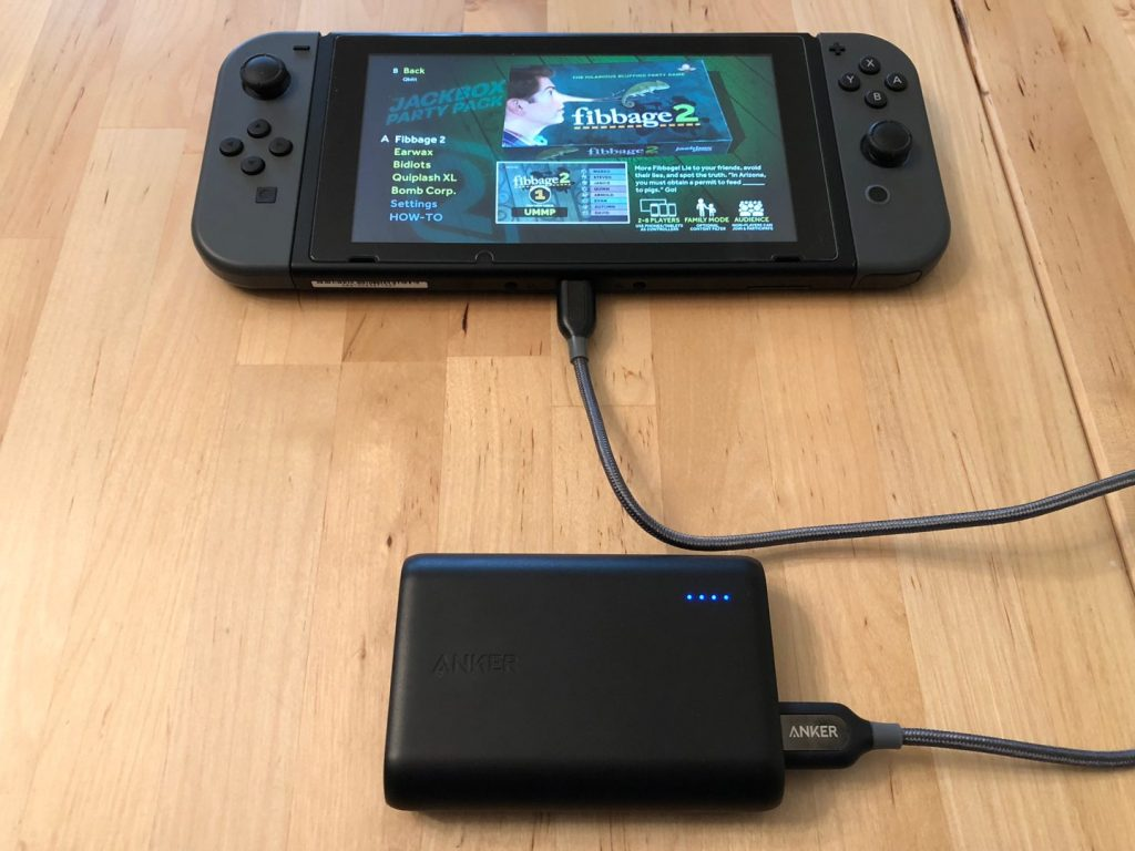 Anker PowerCore 10000 with Nintendo Switch. Cable not included.
