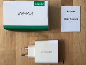 BlitzWolf BW-PL4 box and contents.