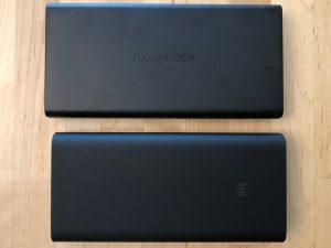 Top: RAVPower 45W Super-C 20100. Bottom: Xiaomi Mi Power Bank 3.