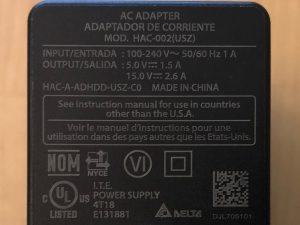 Nintendo Switch AC Adapter specs