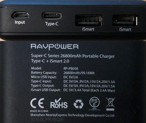 RAVPower PD Pioneer 26800 ports and specs