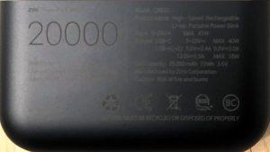 ZMI PowerPack 20000 specs