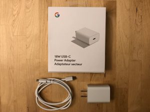 Google 18W USB-C box and contents
