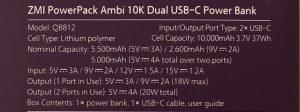 ZMI PowerPack Ambi 10K Dual USB-C specs