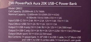 ZMI PowerPack Aura 20K USB-C specs