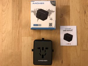 Amoner Universal Travel Adapter box and contents