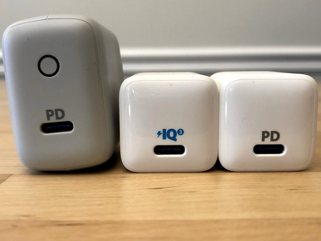 From left to right: Anker PowerPort PD 1, Anker PowerPort III Nano, Anker PowerPort PD Nano
