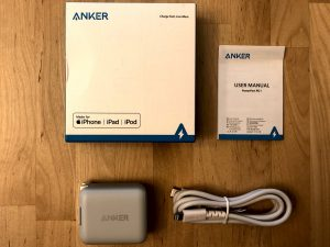 Anker PowerPort PD 1 with Charging Cable box and contents