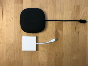 Top: AUKEY CB-C70 Unity Wireless 100W. Bottom: Apple USB-C Digital AV Multiport Adapter.