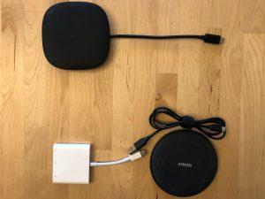 Top: AUKEY CB-C70 Unity Wireless 100W. Bottom: Apple USB-C Digital AV Multiport Adapter & Anker 5W Wireless Charging Pad.