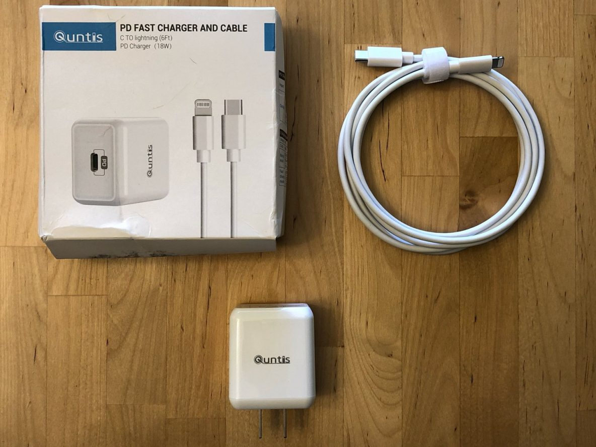 Quntis PD Fast Charger and Cable box and contents