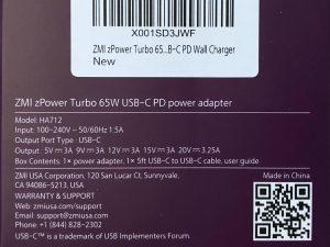 ZMI zPower Turbo 65W specs