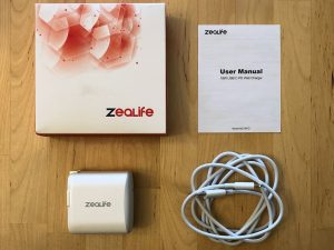ZeaLife 18W USB-C PD with USB-C to Lightning cable box and contents
