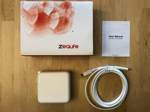 ZeaLife 87W USB-C PD box and contents