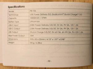 AUKEY PB-Y36 Sprint Go Mini 10000 PD specs