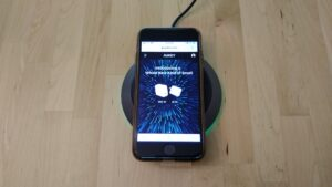 AUKEY LC-Q11 Graphite Podium Wireless Fast Charger with iPhone
