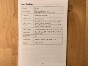 AUKEY PB-Y24 26800 Universal spec listing in manual