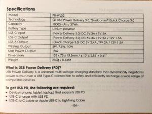AUKEY PB-WL02 Basix Pro Wireless 10000 specs