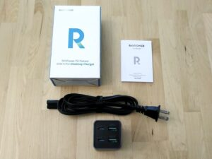 RAVPower PD Pioneer 65W 4-Port Desktop box and contents