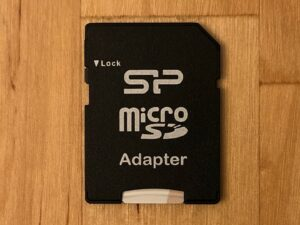 SP Superior Pro microSDXC card in SD adapter