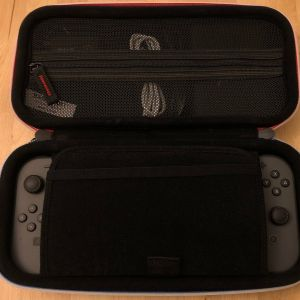 BAGSMART Nintendo Switch Case - Top section with my usual setup