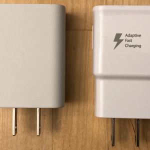 Left: Google 18W USB-C. Right: Samsung Adaptive Fast Charger.