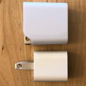 Top: AUKEY PA-Y19 Minima 27W. Bottom: Apple 5W USB Power Adapter.