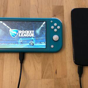 AUKEY Graphite Charging Hub power bank with Nintendo Switch Lite