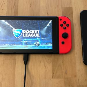 AUKEY Graphite Charging Hub power bank with Nintendo Switch