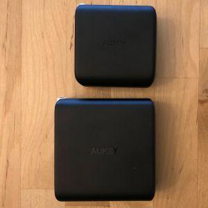 Top: AUKEY PA-B4 Omnia Duo 65W. Bottom: AUKEY PA-D5 Focus Duo 63W.