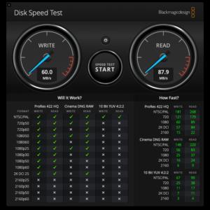 Disk Speed Test USB 2.0 - Apple USB-C to USB Adapter