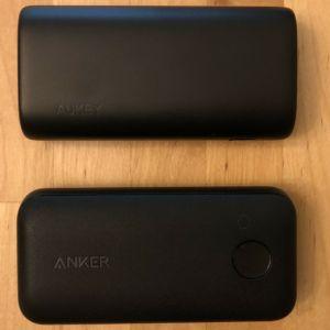 Top: AUKEY PB-Y36 Sprint Go Mini 10000 PD. Bottom: Anker PowerCore 10000 PD Redux.
