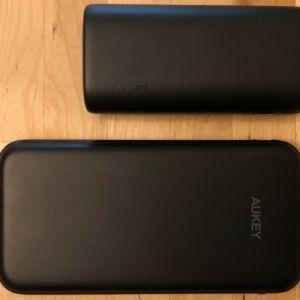 Top: AUKEY PB-Y36 Sprint Go Mini 10000 PD. Bottom: AUKEY PB-Y13 Sprint Lightning 10000.